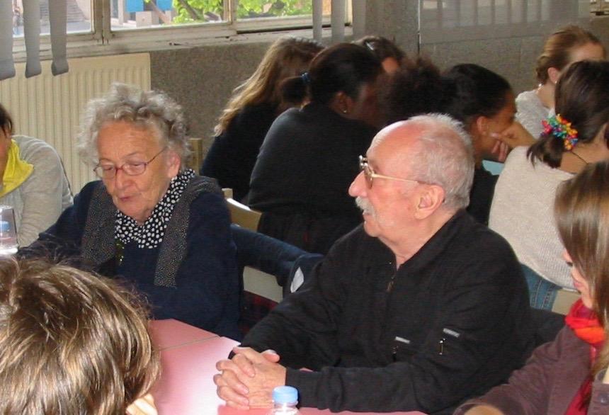 Claude et Paulette (nom de guerre Pauline). Urman au lycée H. Boucher; en 2008. Claude Urman (1922-2013), Paulette Yrman (1923-)